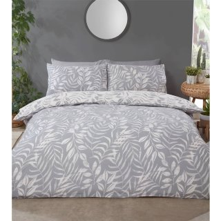 Home & Co Leaf Double Duvet Set - Grey