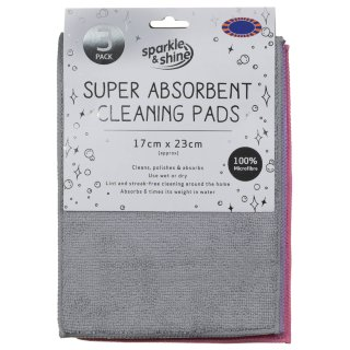 Super Absorbent Cleaning Pads 3pk - Grey
