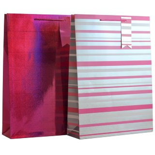 XL Holographic Gift Bag 2pk - Pink