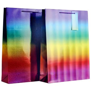XL Holographic Gift Bag 2pk - Rainbow