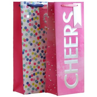 Bottle Gift Bag 2pk - Pink