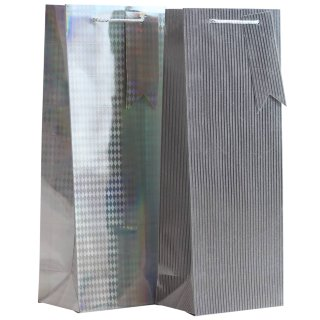 Bottle Gift Bag 2pk - Silver