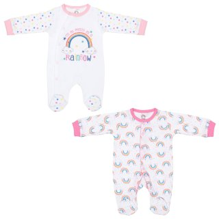 Baby Girl Sleepsuits 2pk - Rainbows