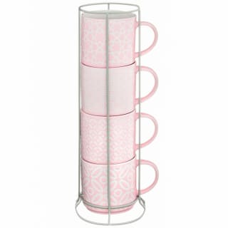 Jumbo Embossed Stacking Mugs 4pk - Blush