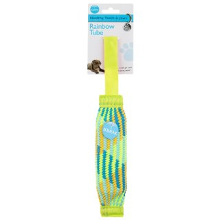 Rainbow Tube Dog Toy - Yellow