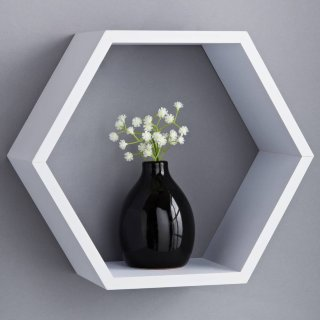 Lokken Hexagonal Shelf - White