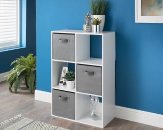 Lokken 6 Cube Shelving Unit & Baskets - White