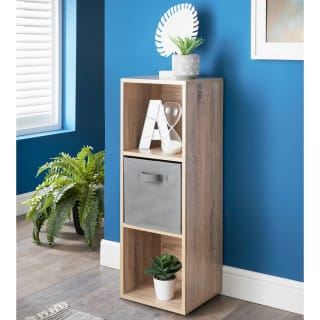 Lokken 3 Cube Shelving Unit & Basket - Oak
