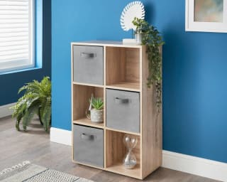Lokken 6 Cube Shelving Unit & Baskets - Oak
