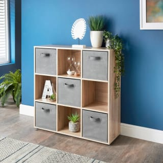 Lokken 9 Cube Shelving Unit & Baskets - Oak