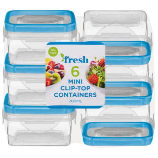Square Mini Clip Top Containers 6pk - Blue