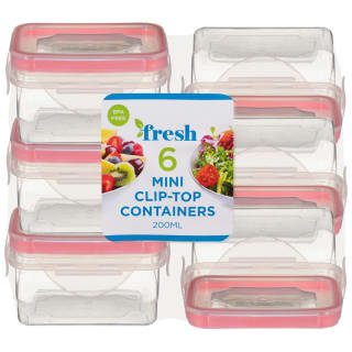Square Mini Clip Top Containers 6pk - Pink