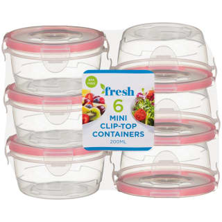 Round Mini Clip Top Containers 6pk - Pink