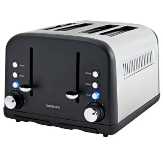 Goodmans 4 Slice Wide Slot Stainless Steel Toaster - Matt Black