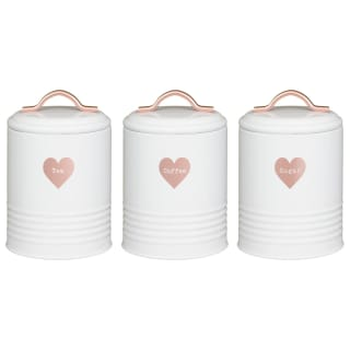 Heart Tea - Coffee - Sugar Storage Canisters 3pc - Rose Gold
