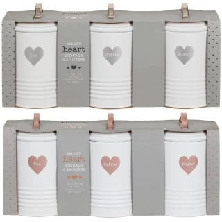Heart Tea - Coffee - Sugar Storage Canisters 3pc - Silver