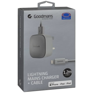 Goodmans Lightning Mains Charger & Cable 1.2m - Grey