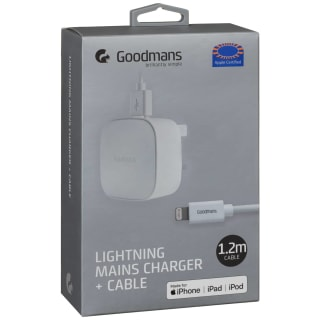 Goodmans Lightning Mains Charger & Cable 1.2m - White