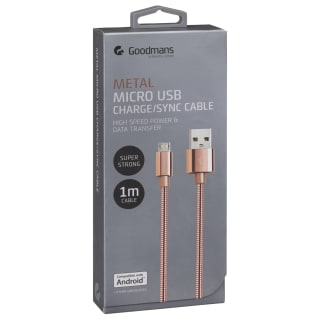 Goodmans Mini USB Metal Charging Cable - Rose Gold