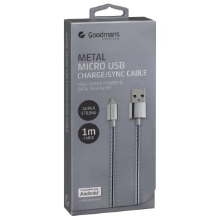 Goodmans Mini USB Metal Charging Cable - Silver