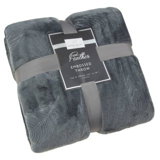 Karina Bailey Feather Embossed Throw - Charcoal