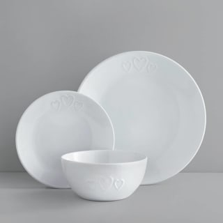 Heart Dinner Set 12pc - White