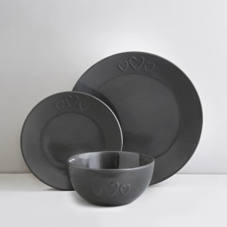 Heart Dinner Set 12pc - Grey