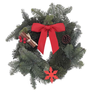 "Real Christmas Wreath 8"" - Red Ribbon"
