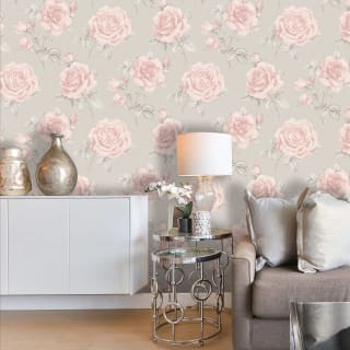 Rosa Blush & Grey Floral Wallpaper