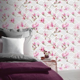 Magnolia Trellis Grey & Pink Wallpaper