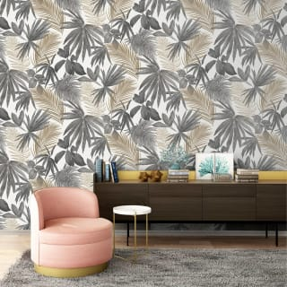 Wild Palms Charcoal & Gold Wallpaper