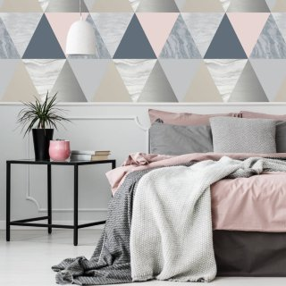 Harlequin Navy & Pink Wallpaper