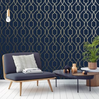 Apex Trellis Navy & Champagne Gold Wallpaper