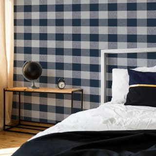 Glamorous Check Navy Wallpaper