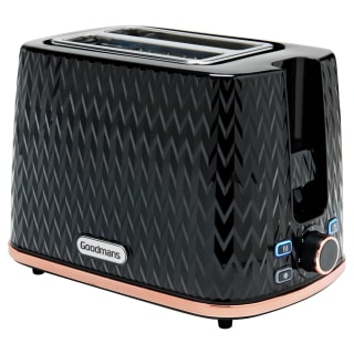 Goodmans Textured 2 Slice Toaster - Black & Rose Gold