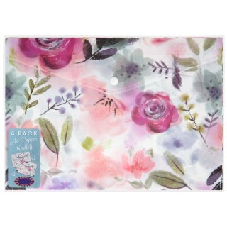 A4 Popper Wallets 4pk - Floral