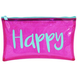 Tinted Embossed PVC Pencil Case - Happy