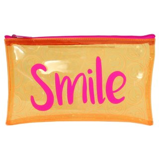 Tinted Embossed PVC Pencil Case - Smile