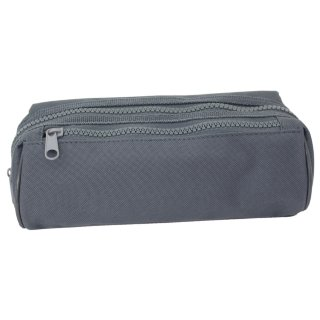 Double Zipped Pencil Case - Grey