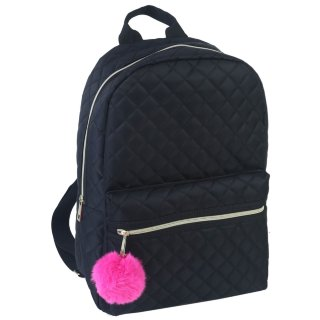Quilted Pom Pom Backpack - Black
