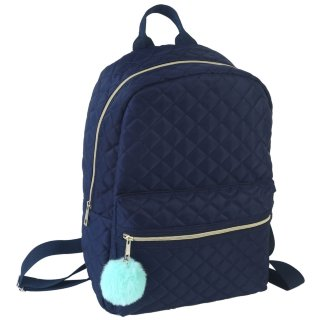 Quilted Pom Pom Backpack - Blue
