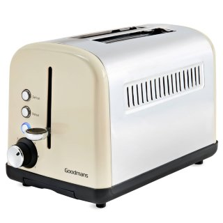 Goodmans 2 Slice Wide Slot Stainless Steel Toaster - Cream