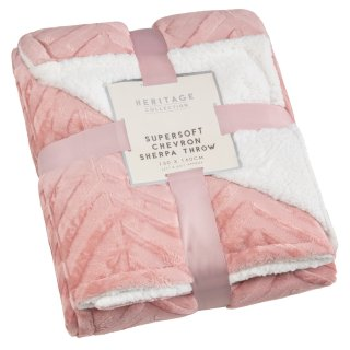 Supersoft Chevron Sherpa Throw - Blush