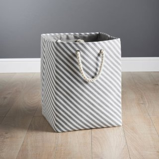 Striped Laundry Bag - Grey