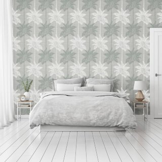 Palm Luxe Grey & Teal Wallpaper