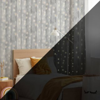 Glow in the Dark Twinkle Lights Grey Wallpaper