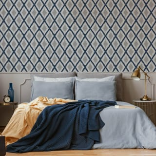 Ikat Navy Wallpaper