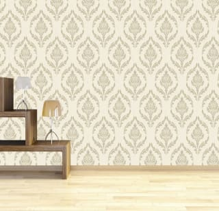 Debona Crystal Damask Wallpaper - Ivory/Gold
