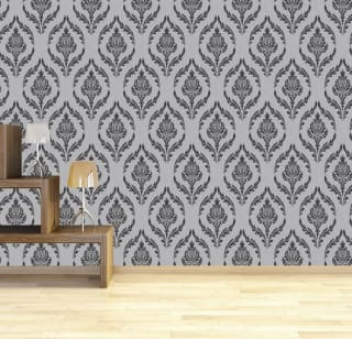 Debona Crystal Damask Wallpaper - Silver/Black