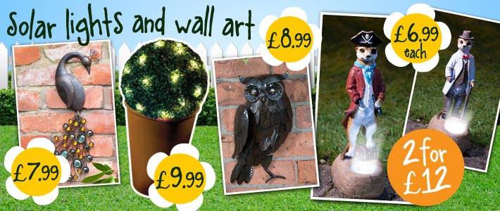 Solar Lights and Garden Art from B&M Stores.